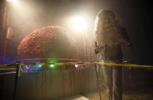 Trick or treaters looks at the Flaming Lips lead singer Wayne Coyne's 500-pound human brain, Saturday Oct. 30, 2010, at his home in Oklahoma City. Photo by Sarah Phipps, The Oklahoman