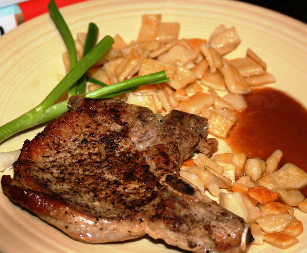 Chops au poivre with spaetzle, from Dawn Welch of The Rock Cafe.