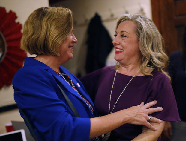 Melinda Olbert congratulates Kendra Horn hugs after defeating incumbent Steve Russel to the U.S. House of Representatives, defeating incumbent Steve Russel at her watch party in Oklahoma City, Tuesday, Nov. 6, 2018. Photo by Sarah Phipps, The Oklahoman