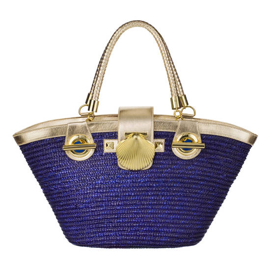 Bali straw fish basket in navy/gold by Felix Rey, $39.99, at Target.