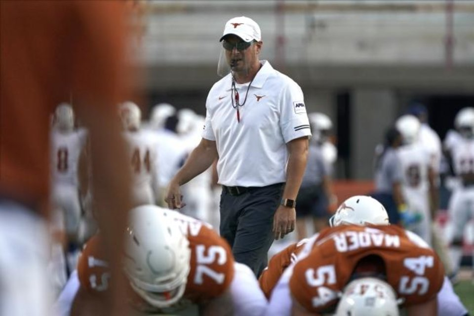 Photo -  Texas is 27-16 under head coach Tom Herman with the Longhorns bringing a 2-1 record this season into Saturday's Red River Showdown against Oklahoma. [AP Photo/Chuck Burton]