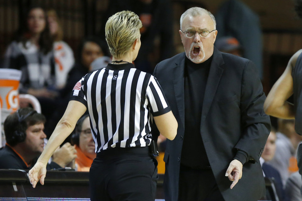 Photo - Oklahoma State coach Jim Littell shouts at an official during a women's NCAA basketball game between the Oklahoma State University Cowgirls (OSU) and the TCU Horned Frogs at Gallagher-Iba Arena in Stillwater, Okla., Wednesday, Jan. 29, 2020. [Bryan Terry/The Oklahoman]