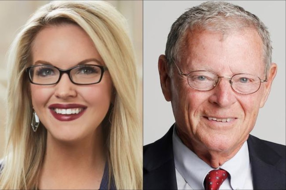 Photo -  Democratic Senate candidate Abby Broyles and Republican U.S. Sen. Jim Inhofe