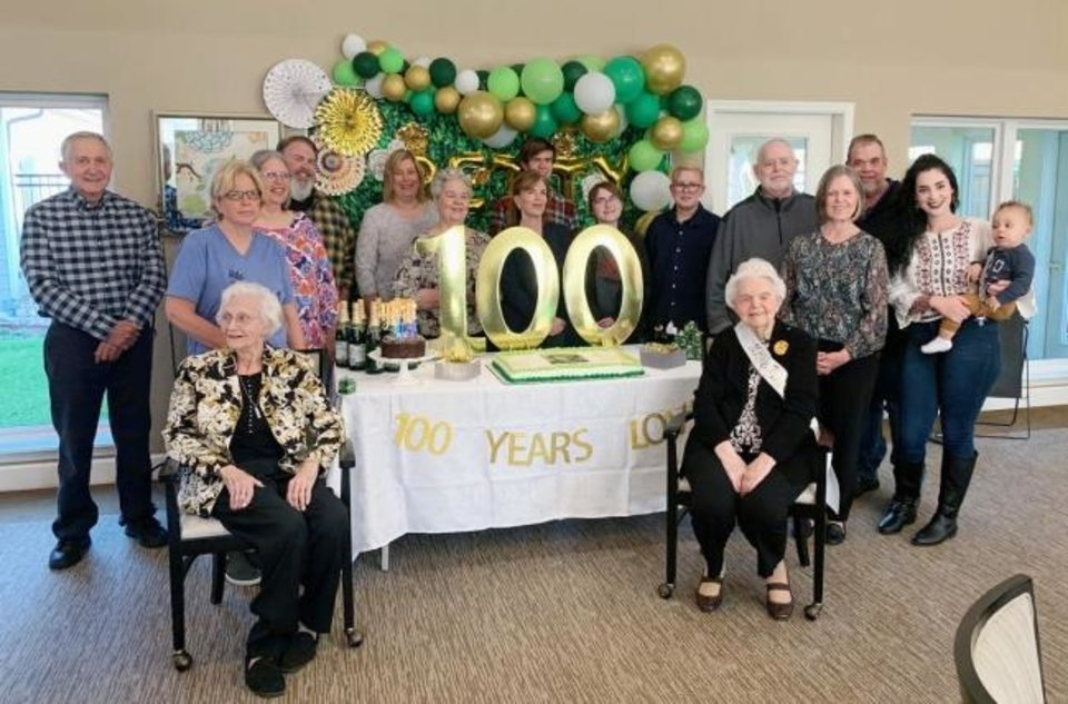 Photo -  Betty Geis, at right, is pictured with her family during a party to celebrate her 100th birthday. [PROVIDED]