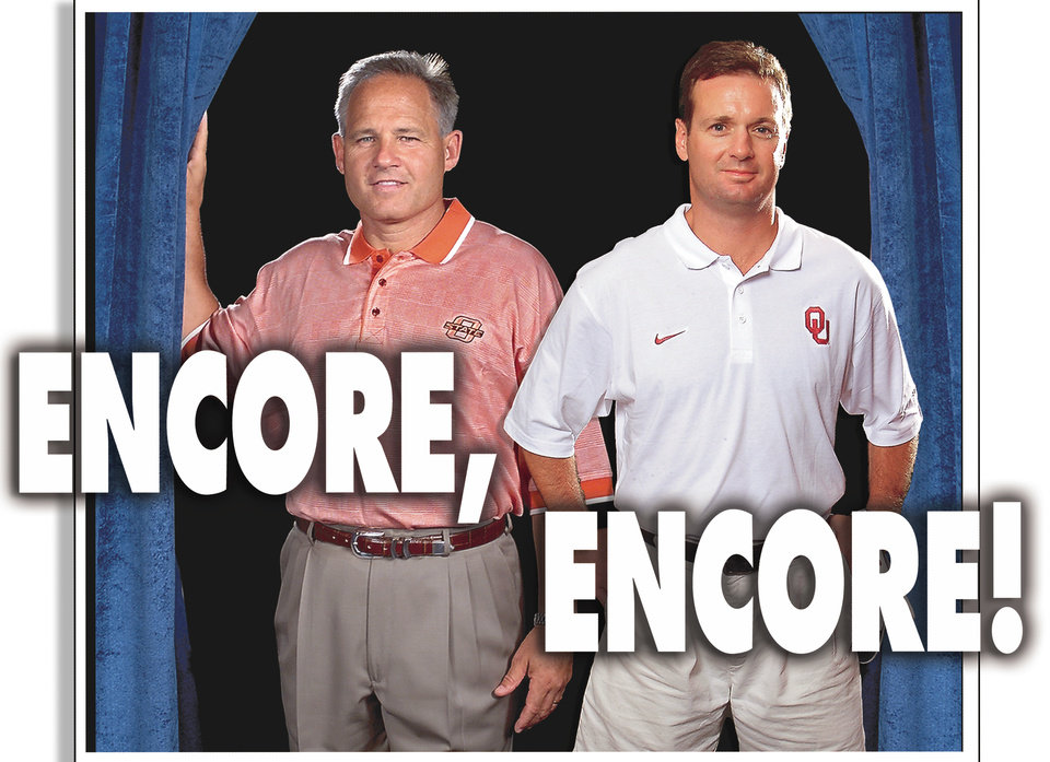 Photo - COLLEGE FOOTBALL PREVIEW INDIVIDUAL COVER GRAPHIC: COMPOSITE PHOTO: OSU COACH LES MILES AND OU COACH BOB STOOPS APPEAR TOGETHER ON STAGE WITH A LITTLE HELP FROM