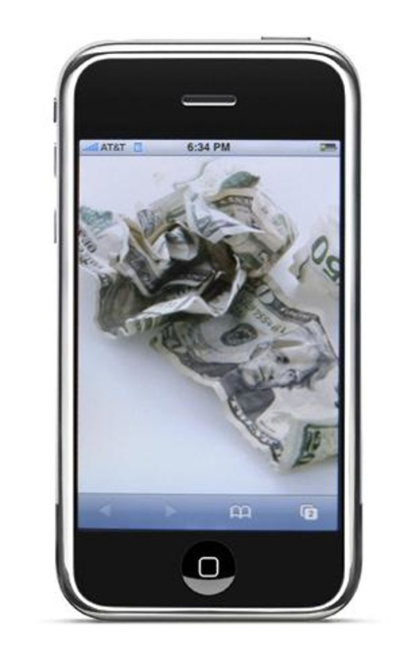 Photo - GRAPHIC / ILLUSTRATION WITH PHOTO: Apple's iPhone  / wadded up money    ORG XMIT: 0708241654410363 ORG XMIT: 934DLL3