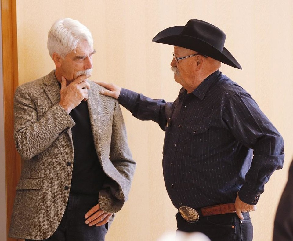 Photo - Sam Elliott and Barry Corbin talk before the Western Heritage Awards panel discussion featuring Elliott, Barry Corbin and Rex Linn at the National Cowboy & Western Heritage Museum. [Photo by Doug Hoke, The Oklahoman]