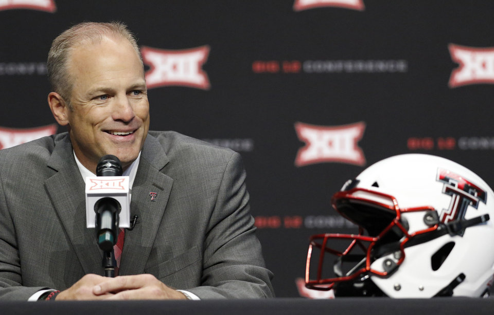 Photo - New Texas Tech head coach Matt Wells speaks on the first day of Big 12 Conference NCAA college football media days Monday, July 15, 2019, at AT&T Stadium in Arlington, Texas. (AP Photo/David Kent)