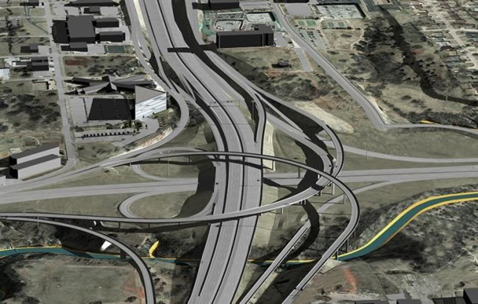 Photo -  Everything shown in this rendering of a rebuilt I-235/I-44 junction is set for completion this fall with the exception of a ramp linking Lincoln Boulevard to I-235 that will be built in 2023. [PROVIDED]