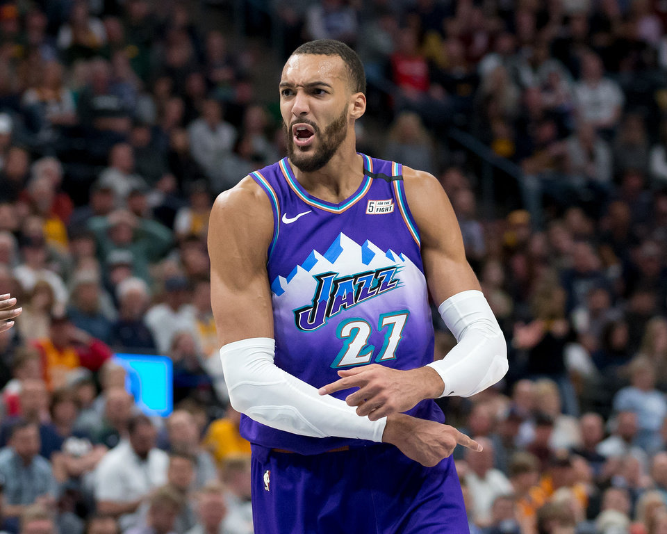Photo - Feb 26, 2020; Salt Lake City, Utah, USA; Utah Jazz center Rudy Gobert (27) reacts to a call during the second half against the Boston Celtics at Vivint Smart Home Arena. Mandatory Credit: Russell Isabella-USA TODAY Sports