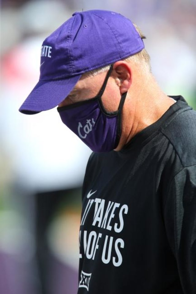 Photo -  Kansas State coach Chris Klieman said there COVID concerns ahead of the Wildcats' season-opener against Arkansas State two weeks ago. [Scott Sewell/USA TODAY Sports]