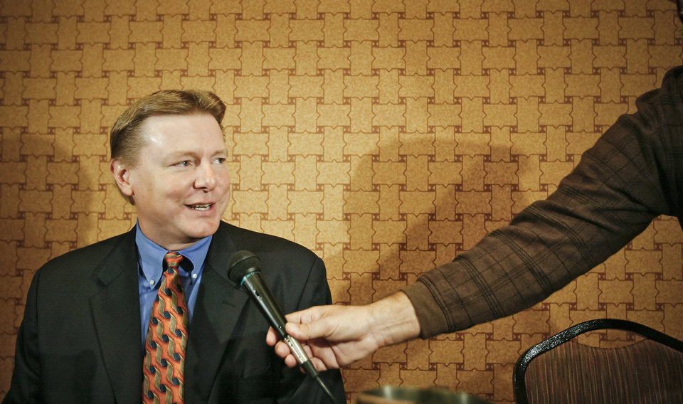 Photo - Oklahoma State University coach Kurt Budke talks to the press during the Big 12 Women's Basketball Media Day at the Cox Convention Center on Wednesday, Oct. 22, 2008, in Oklahoma City, Okla.  BY CHRIS LANDSBERGER, THE OKLAHOMAN