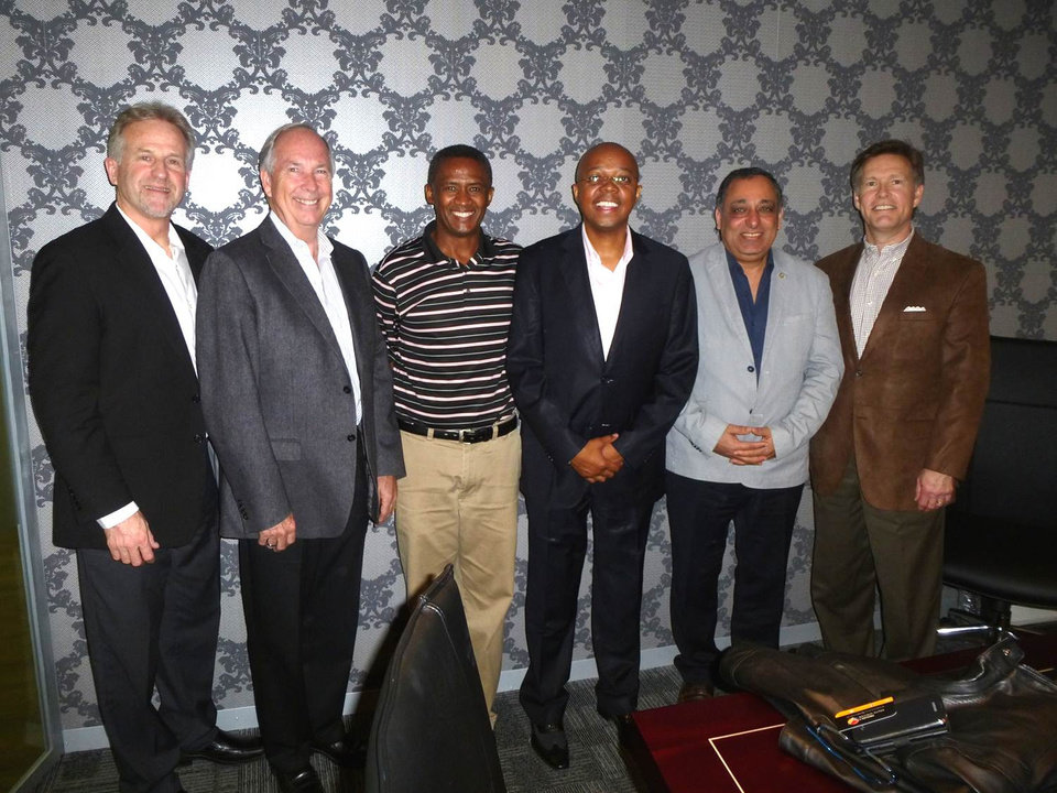 Photo -  While in Johannesburg, South Africa, and Abidjan, the Ivory Coast, Wes Lane (far right) met with various community leaders to help them establish a SALLT group in their cities. Photo provided