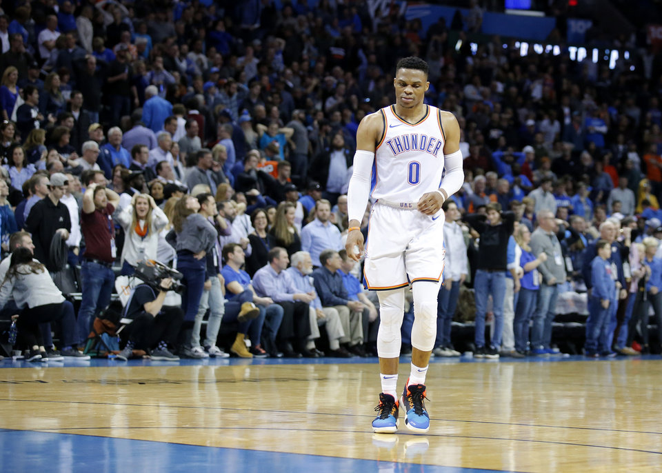 Photo - Oklahoma City's Russell Westbrook (0) walks off the court following a loss to the Minnesota Timberwolves at the Chesapeake Energy Arena, Tuesday, Jan. 8, 2019. Photo by Sarah Phipps, The Oklahoman