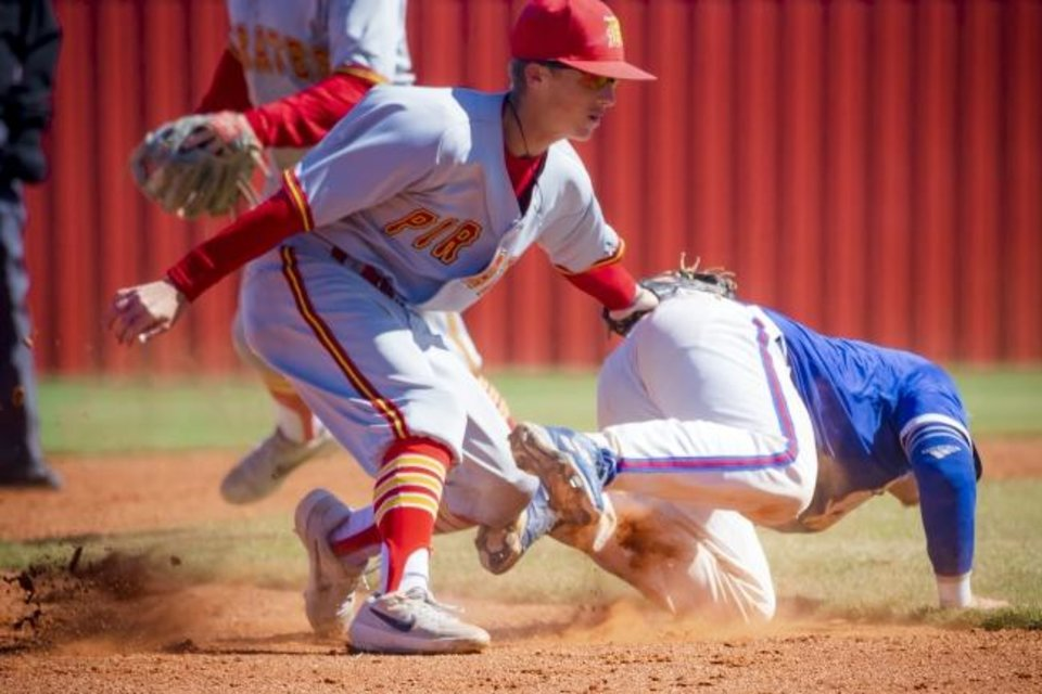 Photo -  Dale's Ike Shirey (1) gets the out on Fort Cobb-Broxton's Jonathan Knauss (7) at second base during the Class A Fall baseball semi-final state tournament game between Dale and Ft. Cobb-Broxton at Yukon High School in Yukon, Okla. on Friday, Oct. 11, 2019. [Chris Landsberger/The Oklahoman]