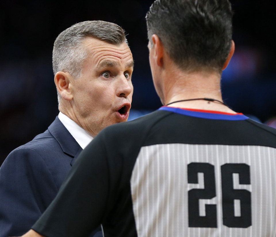 Photo - Oklahoma City coach Billy Donovan argues a call with official Pat Fraher during an NBA basketball game between the Oklahoma City Thunder and the Washington Wizards at Chesapeake Energy Arena in Oklahoma City, Friday, Oct. 25, 2019. [Nate Billings/The Oklahoman]