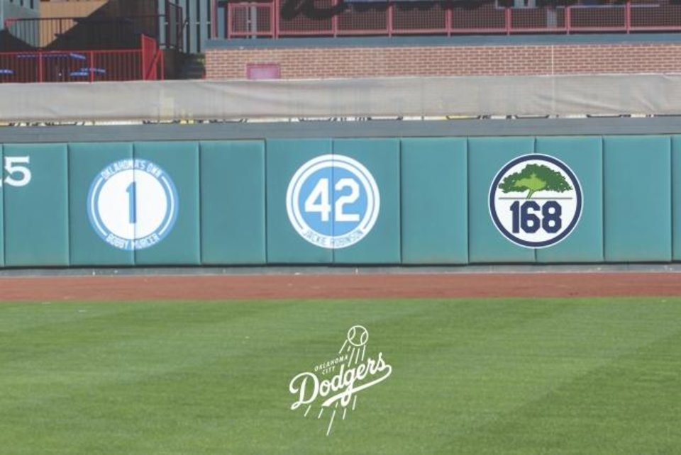 Photo -  The Oklahoma City Dodgers will honor the 168 people who died in the 1995 bombing with a logo on the left-field wall at Chickasaw Bricktown Ballpark. [PHOTO RENDERING PROVIDED]