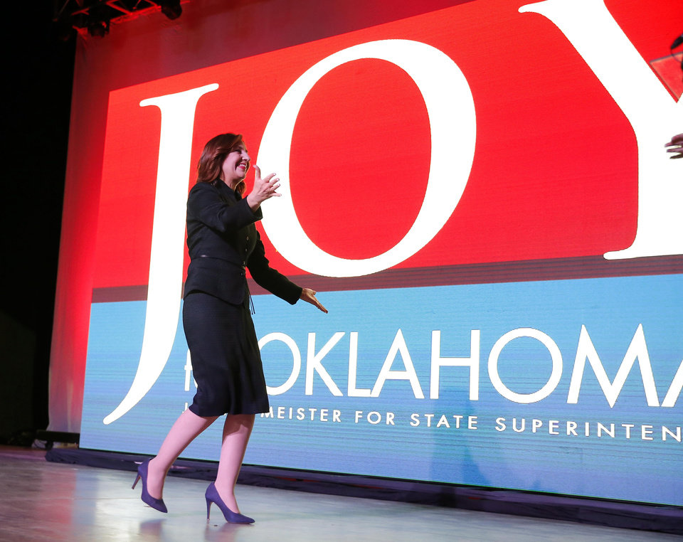 Photo - Joy Hofmeister walks to the mic during the Republican election night watch party for the 2018 elections at the Bricktown Events Center in Oklahoma City, Nov. 6, 2018. Photo by Bryan Terry, The Oklahoman
