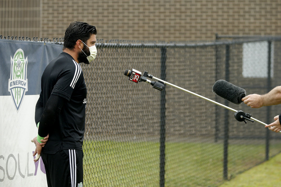 Photo - Cody Laurendi with OKC Energy FC is interviewed before soccer practice in Oklahoma City, Wednesday, May 13, 2020. [Bryan Terry/The Oklahoman]