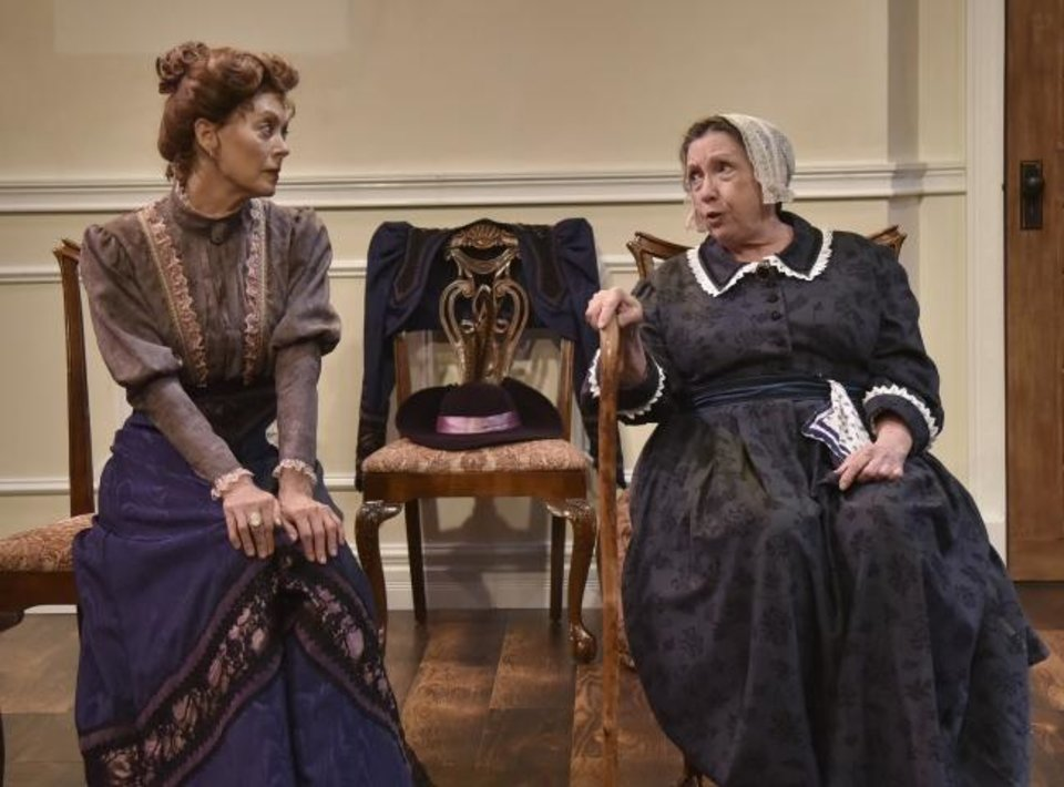 Photo -  From left, Stacey Logan stars as Nora and Pam Dougherty plays Anne Marie in Oklahoma City Repertory Theatre's state premiere production of
