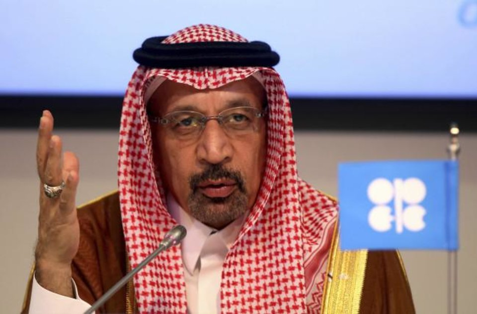 Photo -  Saudi Energy Minister Khalid al-Falih attends a news conference in Vienna, Austria. [AP PHOTO]
