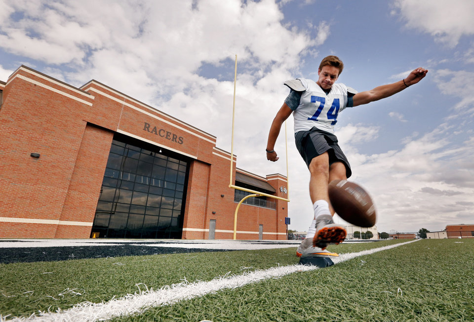 Photo -  Newcastle kicker Hunter Everett kicks before practice Wednesday. [PHOTO BY STEVE SISNEY, THE OKLAHOMAN]