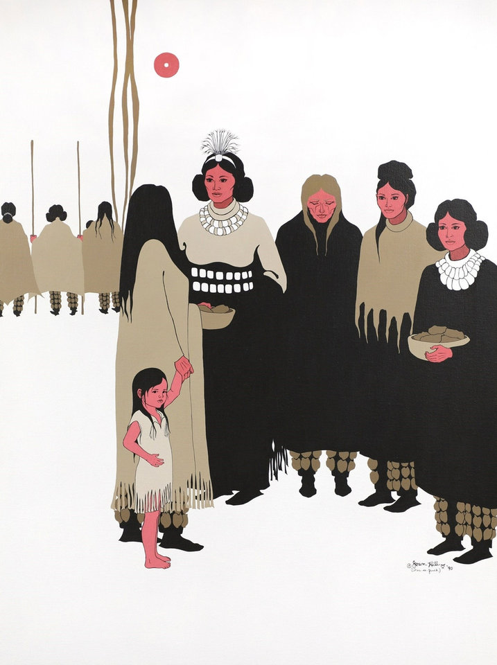 "Photo -  ""Women's Voices at the Council,"" a painting by Joan Hill (Muscogee Creek/Cherokee, 1930-2020) that is part of the Oklahoma State Art Collection, is featured in the landmark traveling exhibition ""Hearts of Our People: Native Women Artists."" The landmark exhibit is on view through Jan. 3 at the Philbrook Museum of Art in Tulsa. [Image provided]"