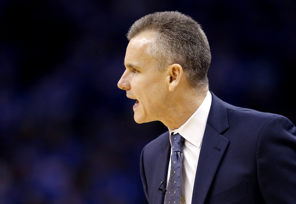 Photo - Oklahoma City head coach Billy Donovan reacts during Game 4 in the first round of the NBA playoffs between the Portland Trail Blazers and the Oklahoma City Thunder at Chesapeake Energy Arena in Oklahoma City, Sunday, April 21, 2019. Portland won 111-98. Photo by Sarah Phipps, The Oklahoman