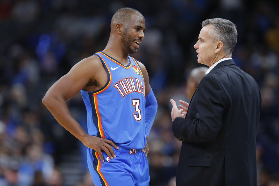 Photo - Oklahoma City's Chris Paul (3) talks with coach Billy Donovan during an NBA basketball game between the Oklahoma City Thunder and the New Orleans Pelicans at Chesapeake Energy Arena in Oklahoma City, Saturday, Nov. 2, 2019. Oklahoma City won 115-104. [Bryan Terry/The Oklahoman]