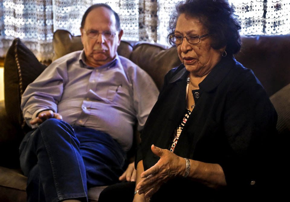 Photo - Geneva and Rev. William Foote speak about the death of there grandson Brad Wahnee on Monday, Jan. 25, 2016, in Lawton, Okla. Wahnee, who was 19 at the time, was killed in an unsolved drive by shooting on Sept. 22, 2009 near NW 30th and May Ave. in Oklahoma City. Photo by Chris Landsberger, The Oklahoman