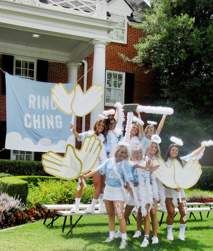 Photo - Mira Lillard, Sarah Perkins, Chloe Markle, Ashley Atwell, first row; Sydney Cremer, Carson Taguwa, Kamryn Jackson, Elisabeth Armstrong, top row, at the Pi Beta Phi House on Bid Day.   HELEN FORD WALLACE PHOTO, THE OKLAHOMAN