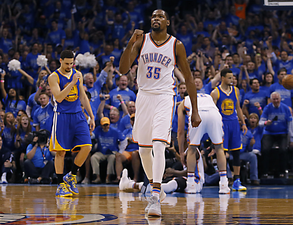 Photo - Oklahoma City's Kevin Durant (35) celebrates a play during Game 6 of the Western Conference finals in the NBA playoffs between the Oklahoma City Thunder and the Golden State Warriors at Chesapeake Energy Arena in Oklahoma City, Saturday, May 28, 2016. Photo by Sarah Phipps, The Oklahoman