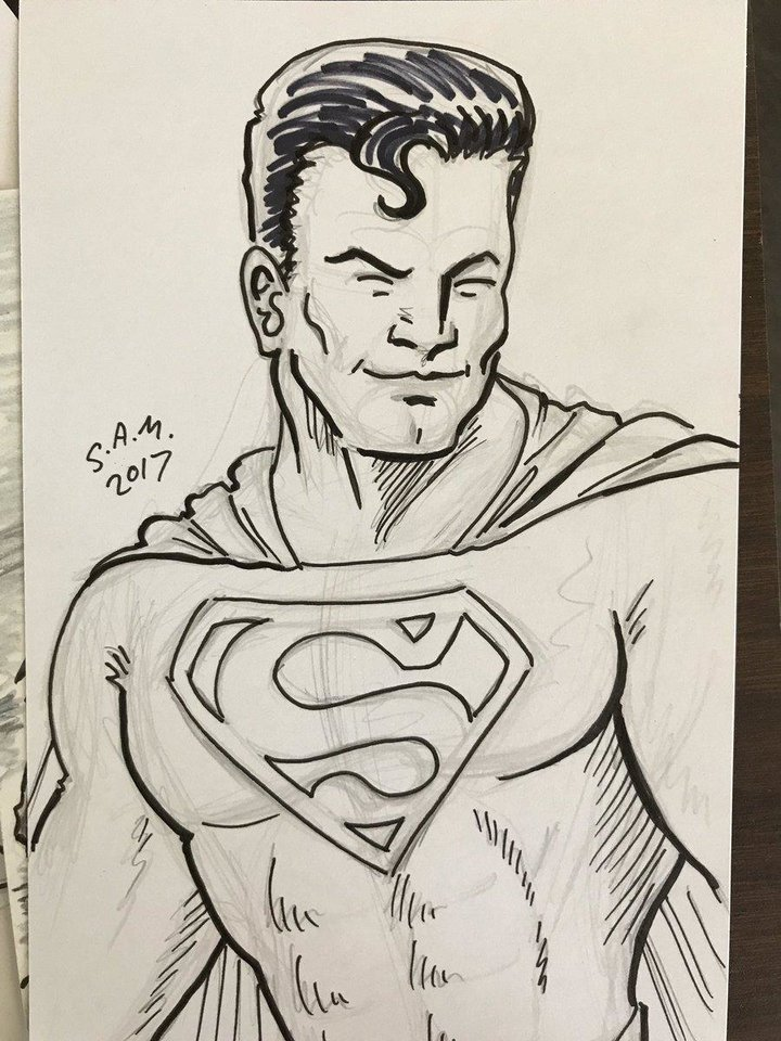 Photo - A Superman sketch from Free Comic Book Day 2017 by S.A. McClung. [photo by Matthew Price, The Oklahoman]