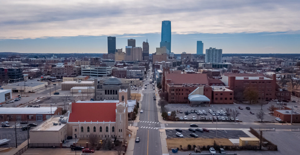 Photo - Drone image looking south down Robinson Avenue towards the OKC skyline from NW 13th Street. Image by Dave Morris.