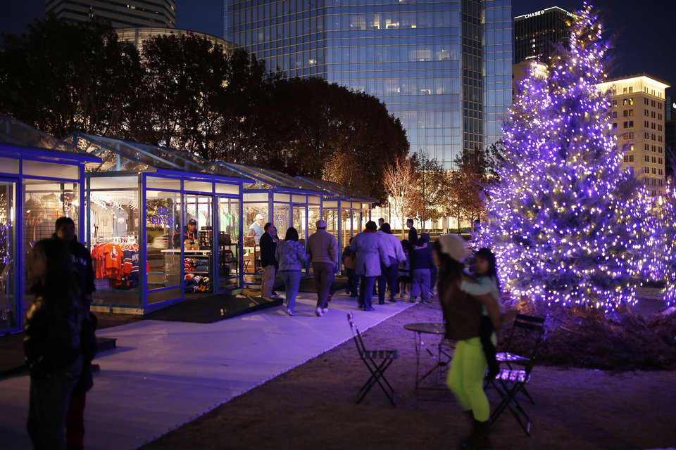 Photo - Winter Shops at Myriad Gardens. Photo by Doug Hoke, The Oklahoman  DOUG HOKE - THE OKLAHOMAN