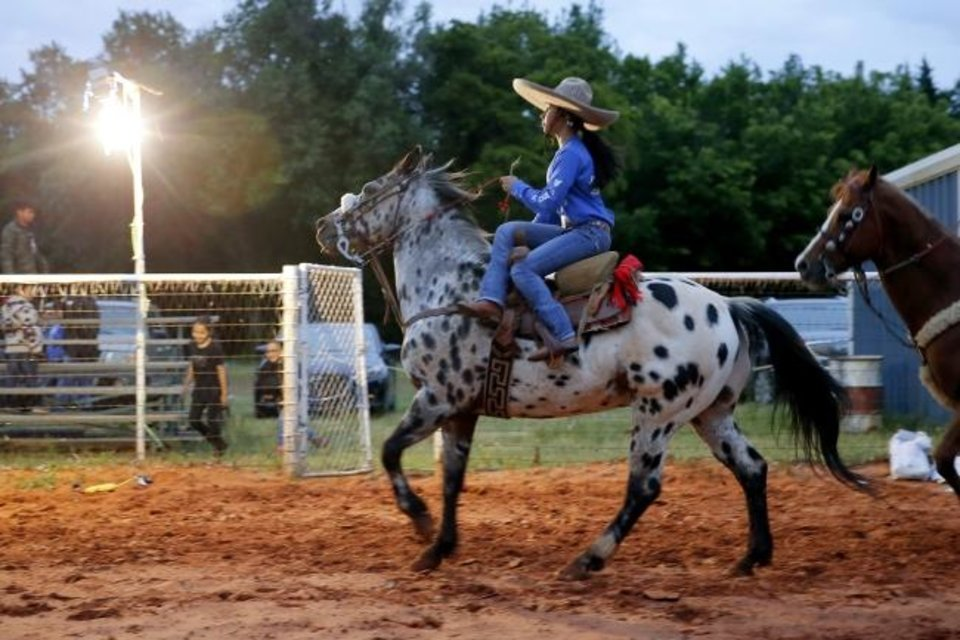 Photo -  Isabella Garcia, 14, practices with the