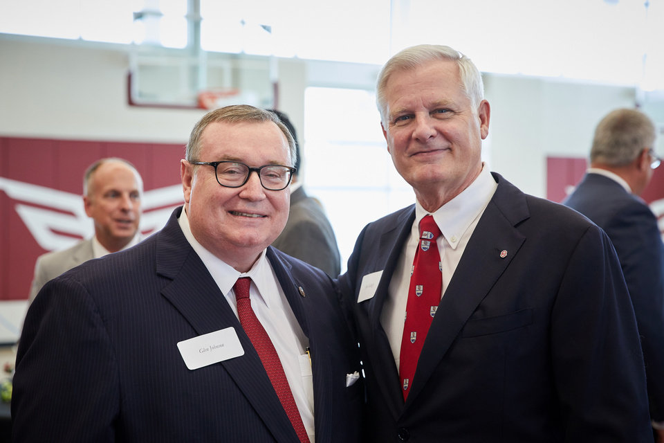 Photo - Chancellor of the Oklahoma State Regents for Higher Education Glen Johnson and President Jim Gallogly. PHOTO BY TRAVIS CAPERTON