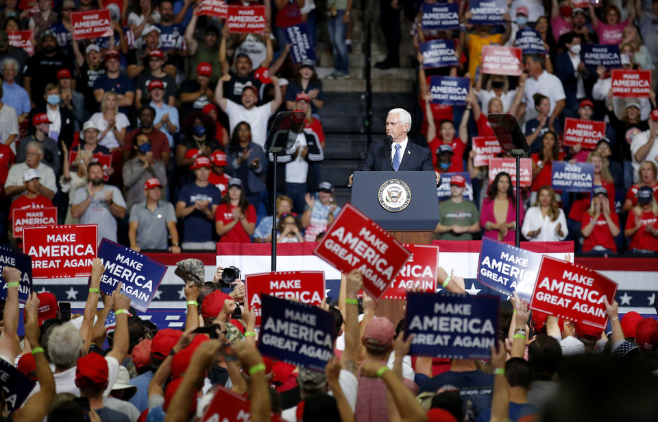 Photo - Vice President Mike Pence speaks during the President Donald Trump rally at the BOK Center in Tulsa, Okla., Saturday, June 20, 2020. [Sarah Phipps/The Oklahoman]