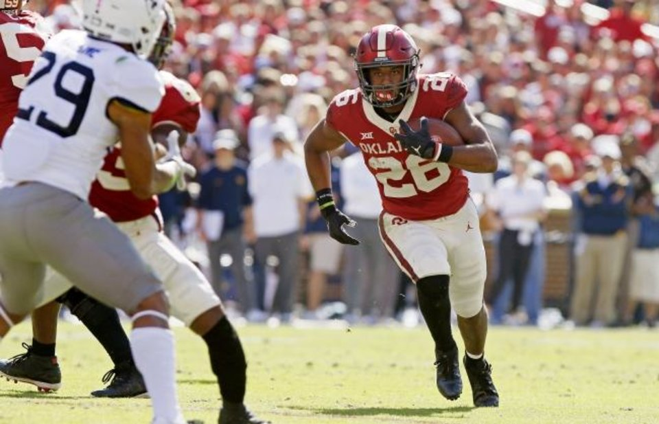 Photo -  Oklahoma's Kennedy Brooks has emerged, whether Lincoln Riley wants to admit it or not, as the Sooners' top running back. Brooks has gotten considerably more work than the Sooners' other three options. [Bryan Terry/The Oklahoman]