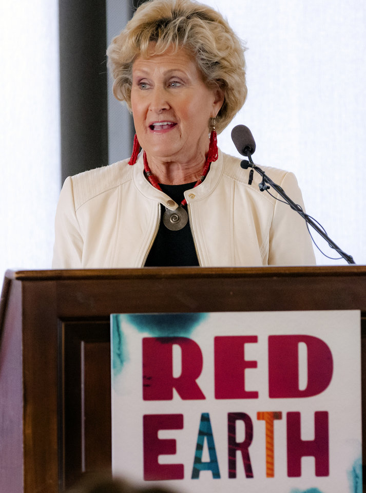 Photo - Judy Hatfield speaks during a Red Earth press conference at the Petroleum Club in Oklahoma City, Okla. on Monday, Feb. 17, 2020. The news conference announced a new location for the annual Red Earth Festival, a new Fall event to mark Oklahoma City's Indigenous PeopleÕs Day and the launch of arts events around the state.  [Chris Landsberger/The Oklahoman]