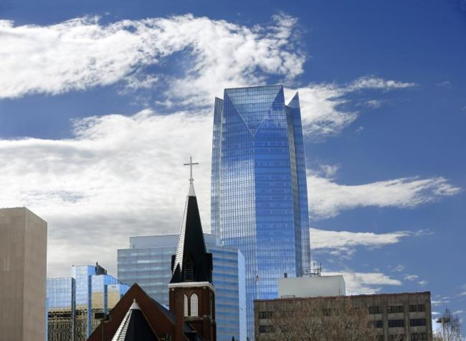 Photo -  Oklahoma City-based Devon Energy and Tulsa-based WPX Energy are merging. Devon Energy Tower is seen in the Oklahoma City skyline. [THE OKLAHOMAN ARCHIVES]