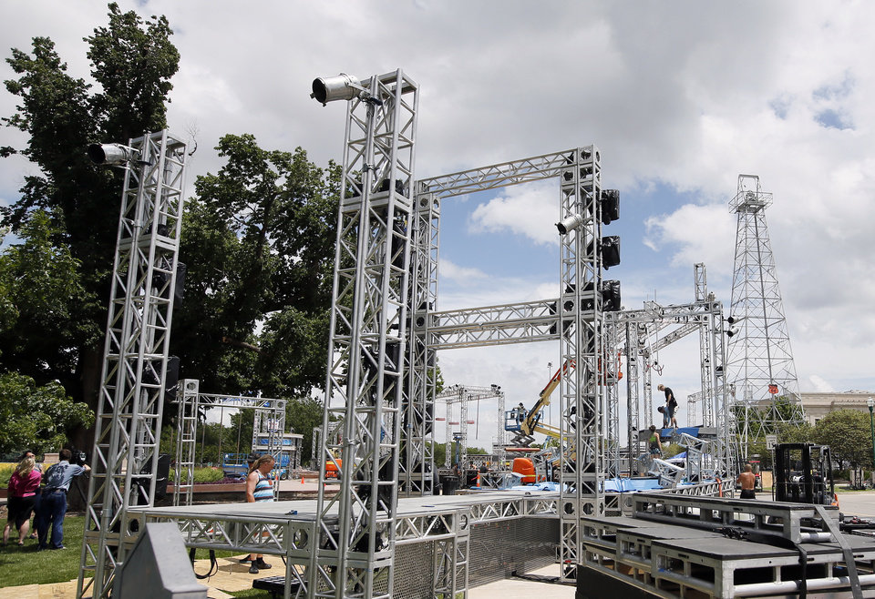"Photo - Construction continues on the set of ""American Ninja Warrior"", an obstacle course competition program, on the south side of the state Capitol in Oklahoma City, Monday, May 9, 2016. The show will shoot this weekend at the Capitol. Photo by Nate Billings, The Oklahoman"