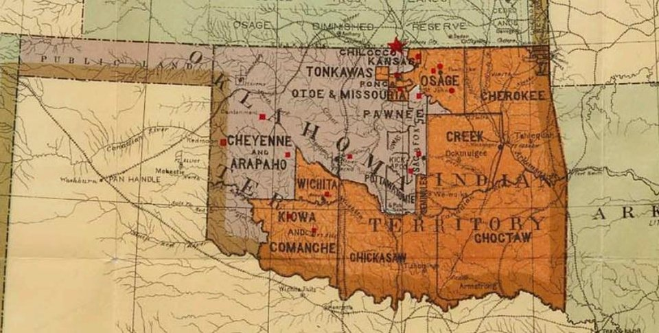 Photo -  This U.S. Department of the Interior map, published in 1900, shows Oklahoma and Indian Country, including the Creek reservation. The U.S. Supreme Court heard arguments Tuesday on whether that reservation remained intact following Oklahoma statehood. [ILLUSTRATION PROVIDED/U.S. SUPREME COURT]