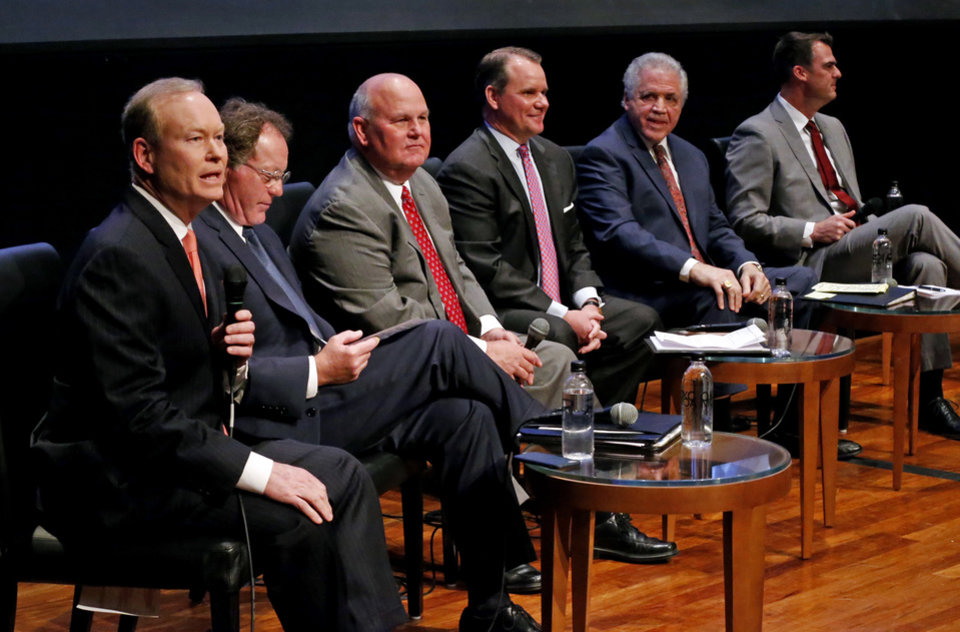Photo - Republican gubernatorial candidates Mick Cornett, Dan Fisher, Gary Jones, Todd Lamb, Gary Richardson and Kevin Stitt  participate in a forum for candidates at the Oklahoma City Museum of Art on Monday, April 23, 2018 in Oklahoma City, Okla.  Photo by Steve Sisney, The Oklahoman