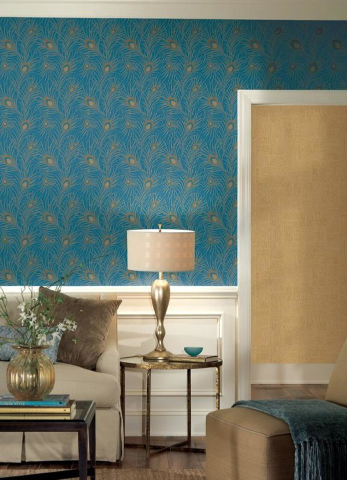 Photo - Turquoise is top decor shade for 2010. In general, a high-voltage color such as turquoise is best confined to smaller areas, such as a single wall. (Courtesy York Wallcoverings/MCT)