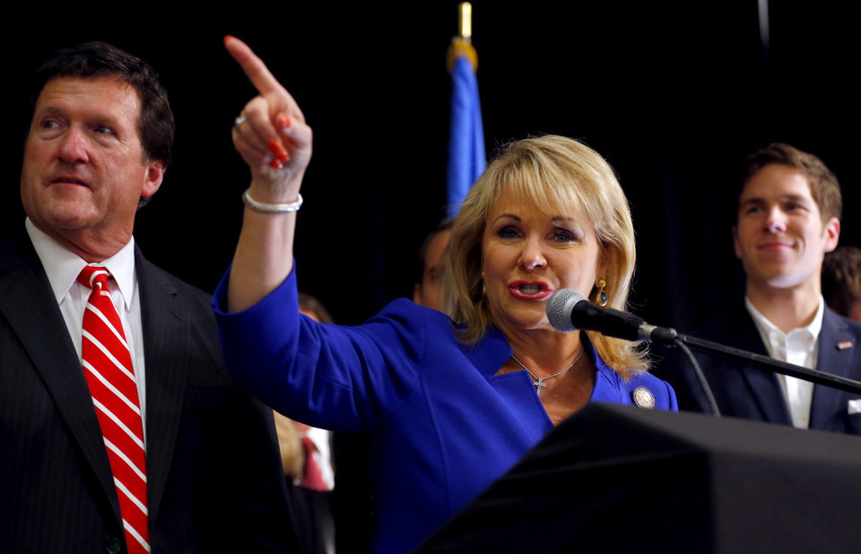 Photo - Gov. Mary Fallin speaks ia at the Republican watch party in Oklahoma City, Tuesday, Nov. 4, 2014.  Photo by Sarah Phipps, The Oklahoman