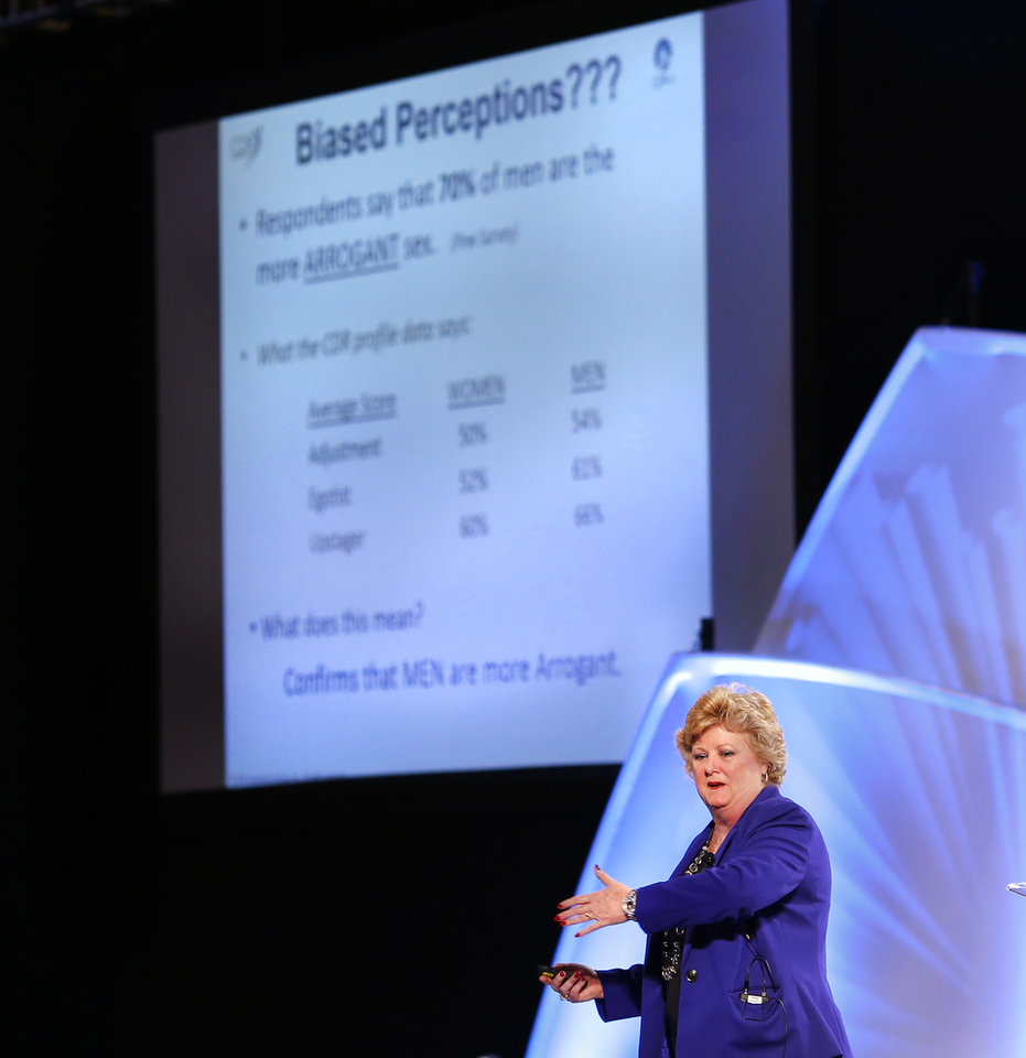 Photo -  Nancy Parsons, CEO of CDR Assessment Group Inc., delivers her presentation Wednesday on the topic,