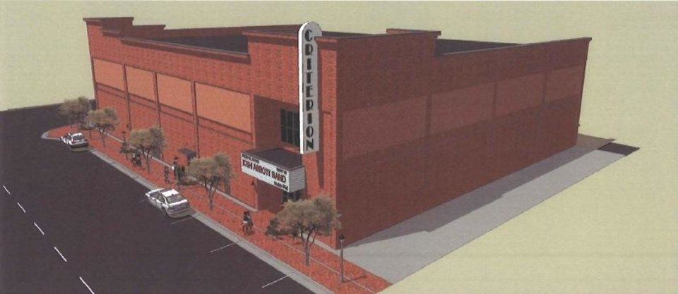 Photo -  The original design for the Criterion concert hall in Bricktown called for an entrance mid-block on Sheridan Avenue, no windows and minimal brick detailing. Drawings Provided