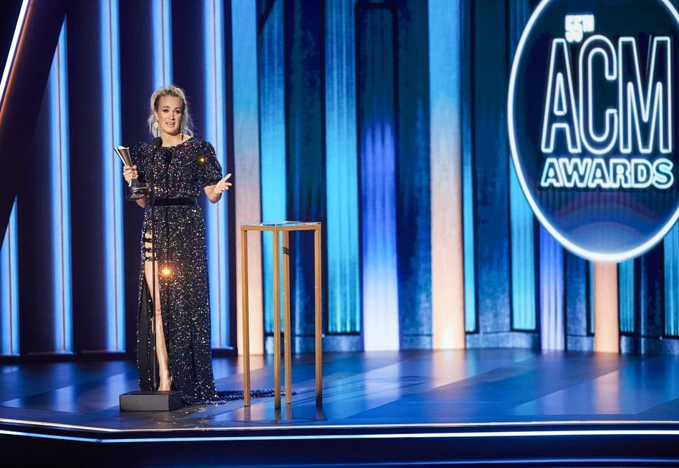 Photo - Carrie Underwood wins Entertainer of the Year Wednesday on the 55th Academy of Country Music Awards. [Brent Harrington/CBS]