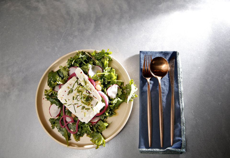 Photo -  White Bean Herb salad with feta cheese from The Kitchen at Commonplace Books in Oklahoma City. [Photo by Sarah Phipps, The Oklahoman]